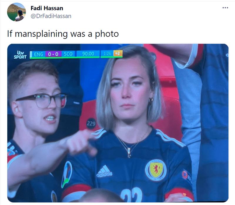 Glasses - ... Fadi Hassan @DrFadiHassan If mansplaining was a photo 90:00 1:26 +2 ikv SPORT ENG 0-0 SCO 229 RE adidas