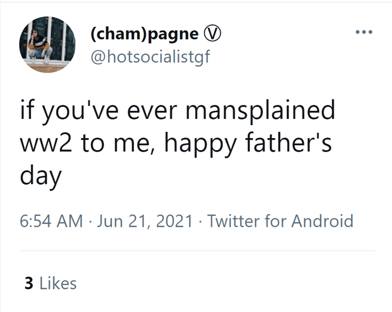 Font - (cham)pagne @hotsocialistgf if you've ever mansplained ww2 to me, happy father's day 6:54 AM · Jun 21, 2021 · Twitter for Android 3 Likes