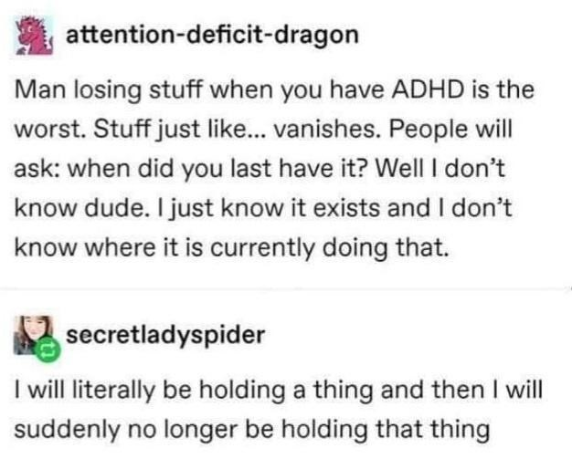 Font - attention-deficit-dragon Man losing stuff when you have ADHD is the worst. Stuff just like... vanishes. People will ask: when did you last have it? Well I don't know dude. I just know it exists and I don't know where it is currently doing that. secretladyspider I will literally be holding a thing and then I will suddenly no longer be holding that thing