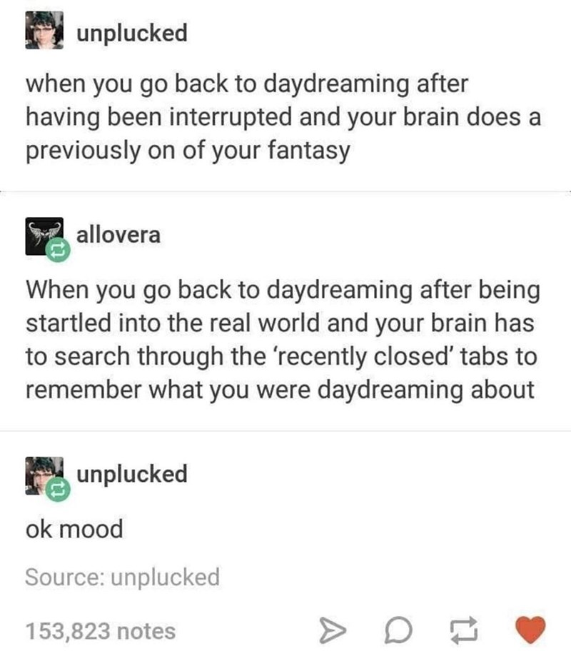 Font - unplucked when you go back to daydreaming after having been interrupted and your brain does a previously on of your fantasy allovera When you go back to daydreaming after being startled into the real world and your brain has to search through the 'recently closed' tabs to remember what you were daydreaming about unplucked ok mood Source: unplucked 153,823 notes