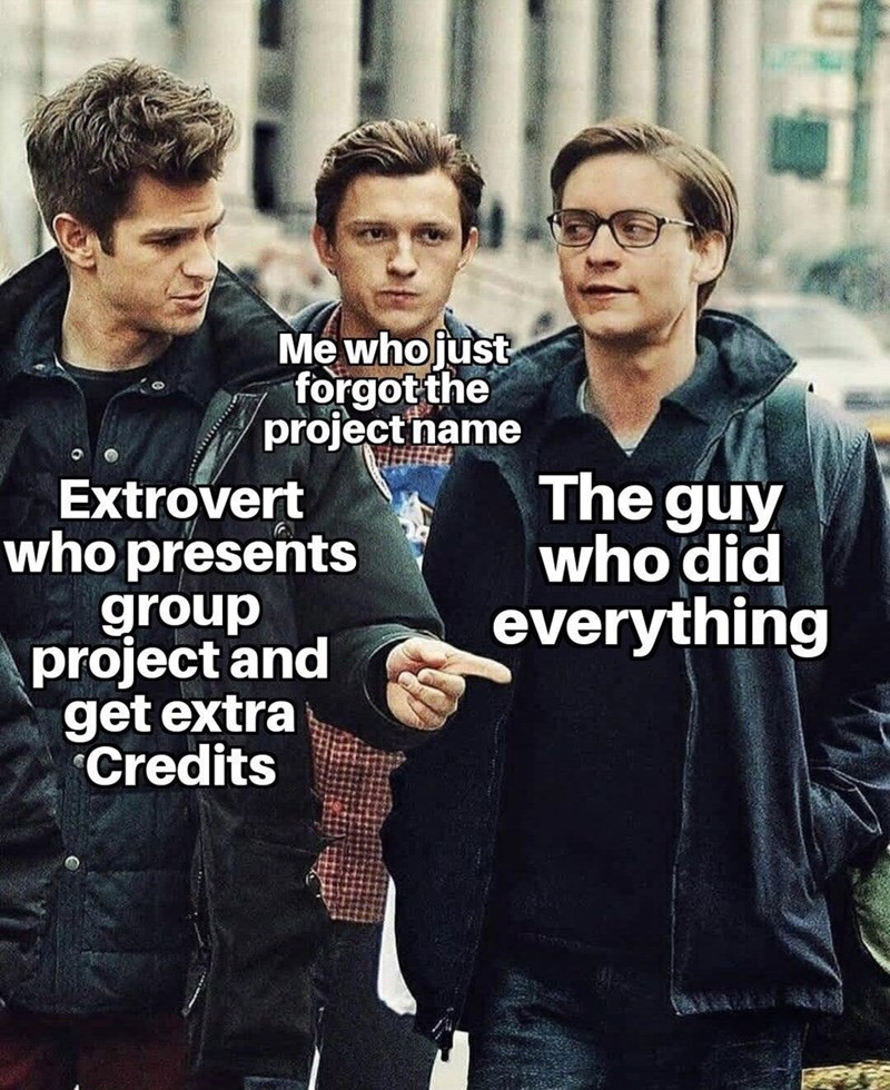 Glasses - Me whojust forgot the project name Extrovert who presents group project and get extra Credits The guy who did everything