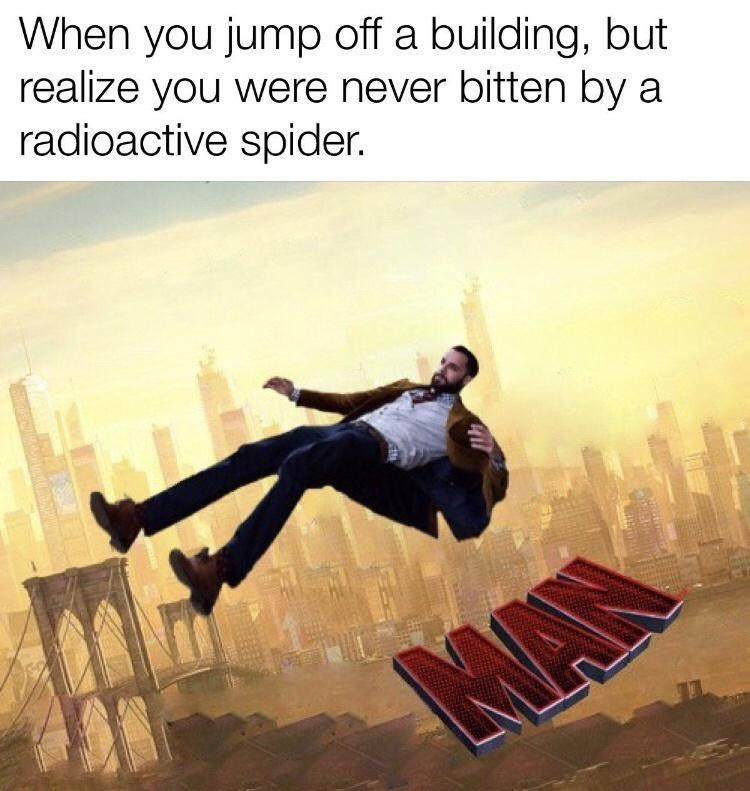World - When you jump off a building, but realize you were never bitten by a radioactive spider. NAN