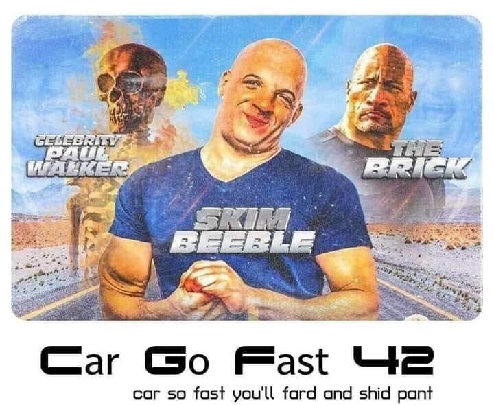 Human - GELEBRITV PAUL WALKER THE BRICK SKIM BEEBLE Car Car Go Fast 42 car so fast you'll fard and shid pant