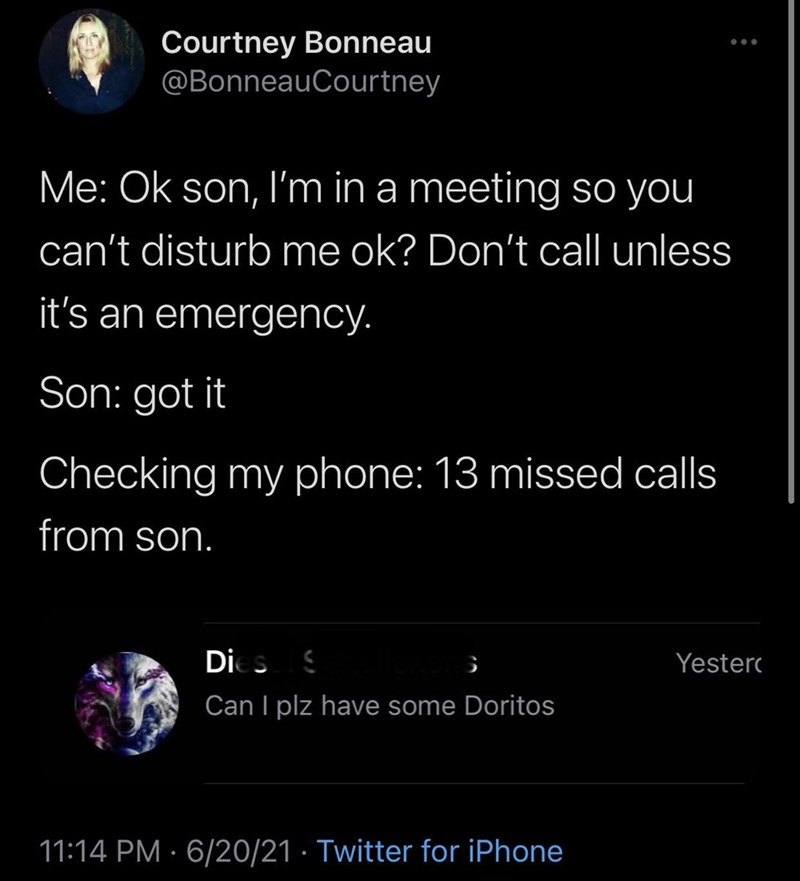 Font - Courtney Bonneau @BonneauCourtney Me: Ok son, l'm in a meeting so you can't disturb me ok? Don't call unless it's an emergency. Son: got it Checking my phone: 13 missed calls from son. Dies S Yesterc Can I plz have some Doritos 11:14 PM · 6/20/21 · Twitter for iPhone