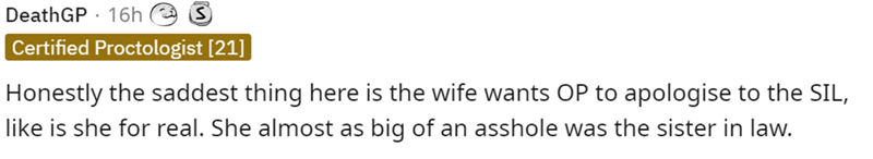 Font - DeathGP · 16h Certified Proctologist [21] Honestly the saddest thing here is the wife wants OP to apologise to the SIL, like is she for real. She almost as big of an asshole was the sister in law.