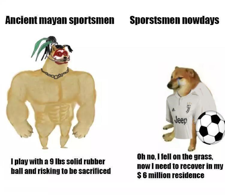 Vertebrate - Ancient mayan sportsmen Sporstsmen nowdays Jeep I play with a 9 Ibs solid rubber ball and risking to be sacrificed Oh no, I fell on the grass, now I need to recover in my $6 million residence