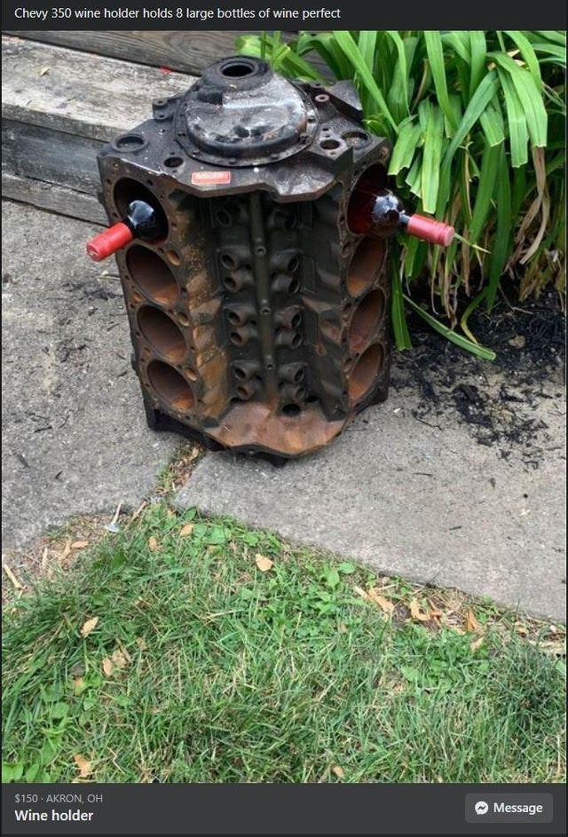 Plant - Chevy 350 wine holder holds 8 large bottles of wine perfect $150 · AKRON, OH Message Wine holder