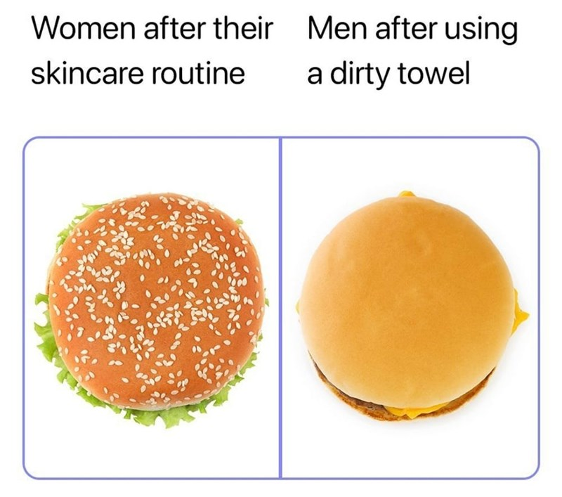 Food - Women after their Men after using skincare routine a dirty towel