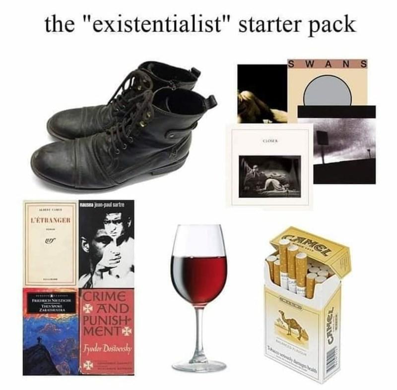 "Tableware - the ""existentialist"" starter pack SWANS nausea jean-paul sartre 1'ETRANGER CAMGL CRIME *AND PUNISH MENT FRIINCH NIETENE THEN SOE ZARAIRSTRA Fydor Desioensky"