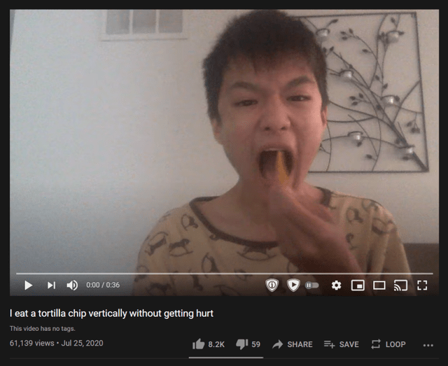 Face - 0:00 / 0:36 I eat a tortilla chip vertically without getting hurt This video has no tags. 61,139 views · Jul 25, 2020 8.2K I 59 SHARE + SAVE E LOOP ...