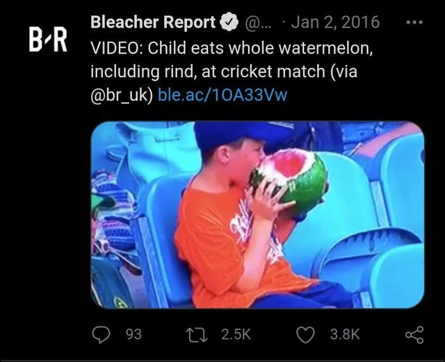 Gadget - Bleacher Report B-R @. · Jan 2, 2016 VIDEO: Child eats whole watermelon, including rind, at cricket match (via @br_uk) ble.ac/10A33VW 93 27 2.5K 3.8K