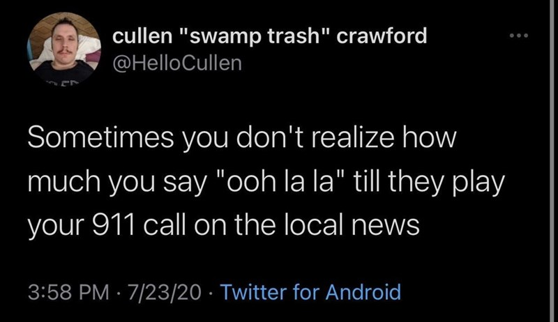 """Smile - cullen """"swamp trash"""" crawford @HelloCullen Sometimes you don't realize how much you say """"ooh la la"""" till they play your 911 call on the local news 3:58 PM · 7/23/20 · Twitter for Android"""