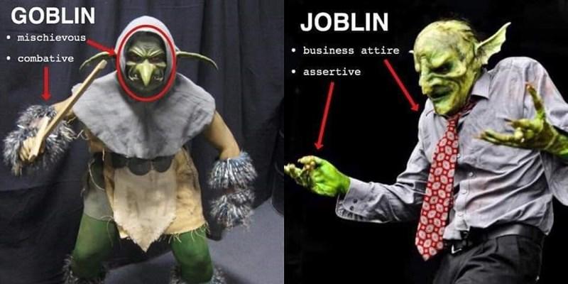 Green - GOBLIN JOBLIN mischievous business attire combative assertive