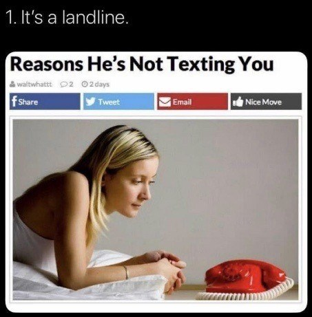 Product - 1. It's a landline. Reasons He's Not Texting You waitwhattt O2 02 days f Share Tweet Nice Move Email