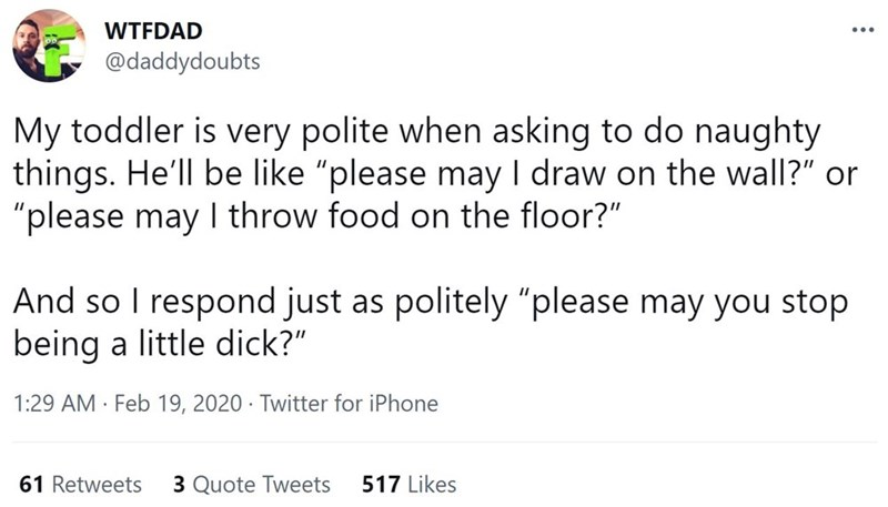 """Font - WTFDAD @daddydoubts My toddler is very polite when asking to do naughty things. He'll be like """"please may I draw on the wall?"""" or """"please may I throw food on the floor?"""" And so I respond just as politely """"please may you stop being a little dịck?"""" 1:29 AM · Feb 19, 2020 · Twitter for iPhone 61 Retweets 3 Quote Tweets 517 Likes"""