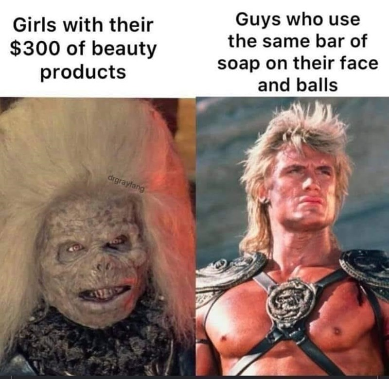 Hair - Guys who use the same bar of Girls with their $300 of beauty products soap on their face and balls drgrayfang