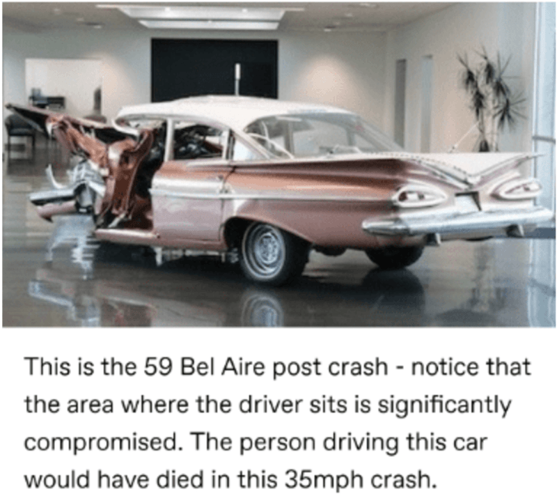Car - This is the 59 Bel Aire post crash - notice that the area where the driver sits is significantly compromised. The person driving this car would have died in this 35mph crash.