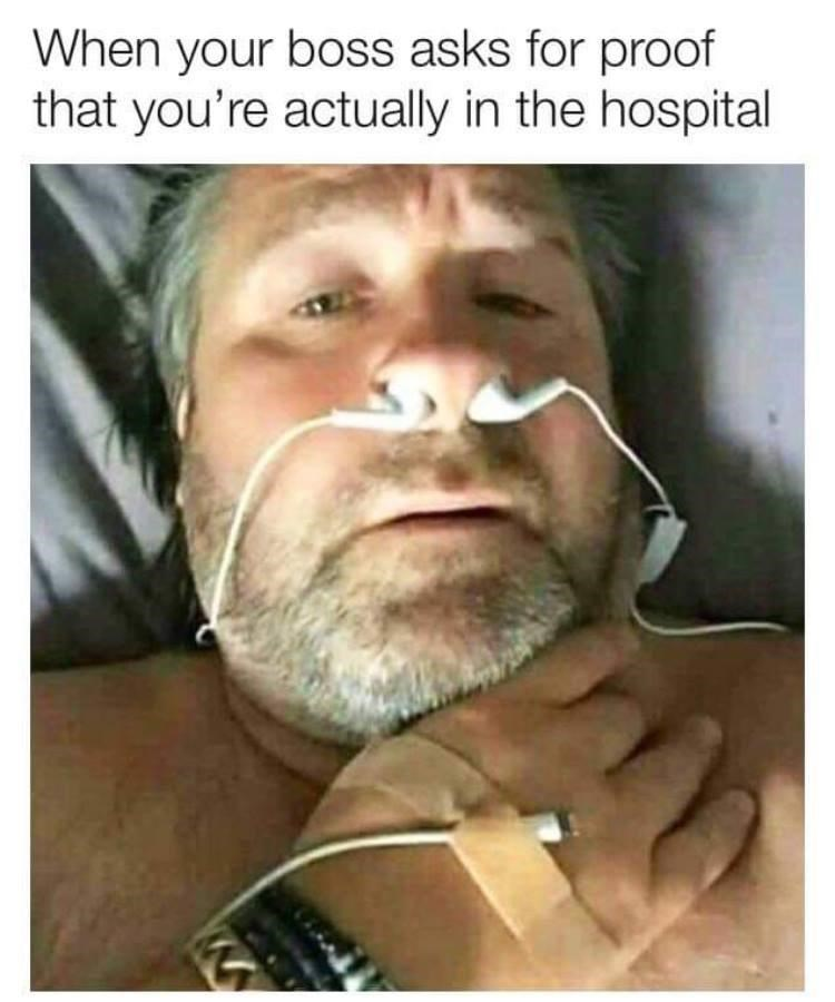 Forehead - When your boss asks for proof that you're actually in the hospital