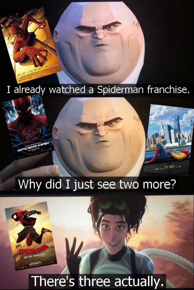 Human - I already watched a Spiderman franchise. SPIDER-MAN Why did I just see two more? 7.7.2017 DERAN INTO THE SPIDER VERSE DECEMBER H There's three actually.