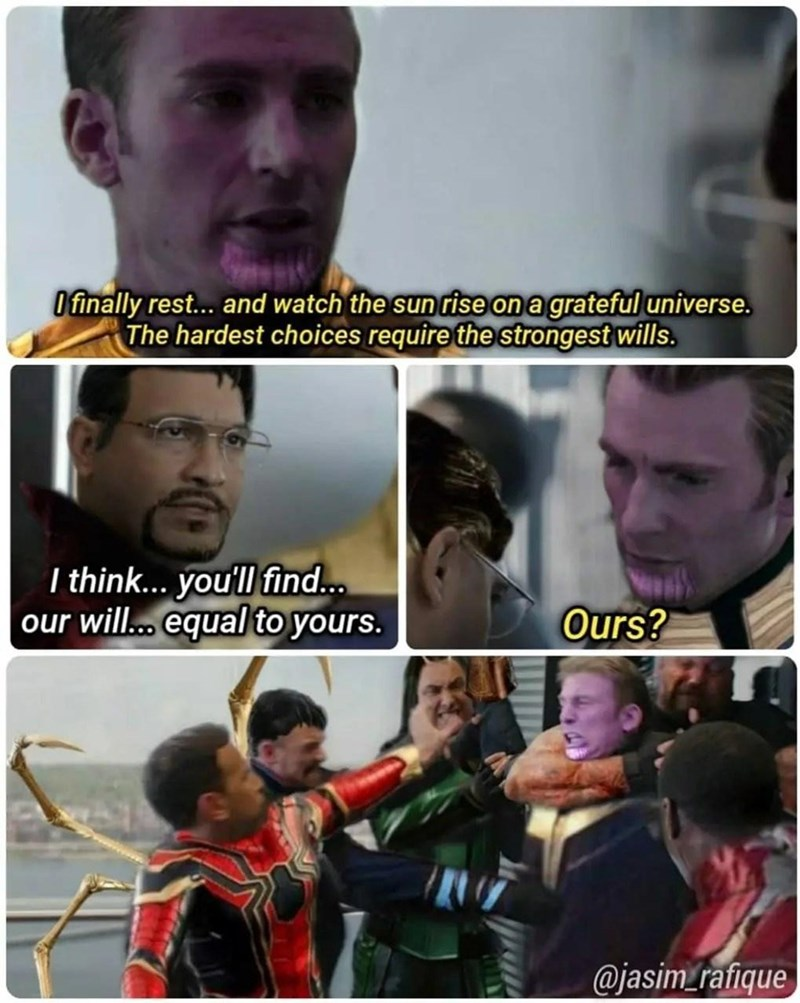 Forehead - O finally rest. and watch the sun rise on a grateful universe. The hardest choices require the strongest wills. I think... you'll find.. our will.. equal to yours. Ours? @jasim_rafique