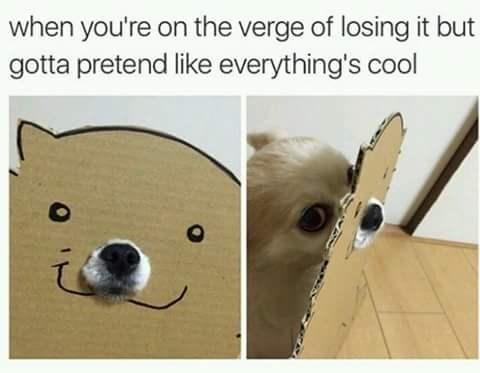 Line - when you're on the verge of losing it but gotta pretend like everything's cool