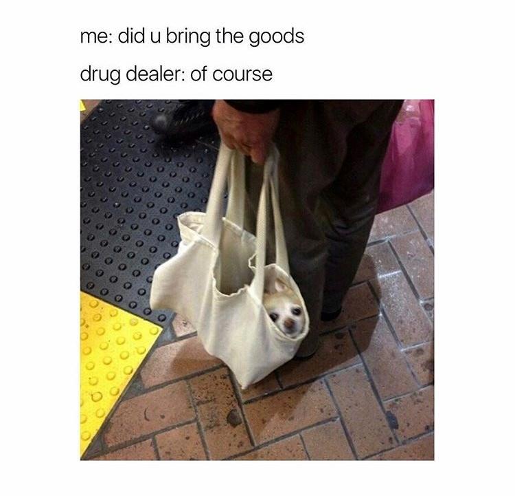 Product - me: did u bring the goods drug dealer: of course