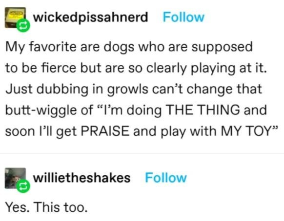"""Font - wickedpissahnerd Follow My favorite are dogs who are supposed to be fierce but are so clearly playing at it. Just dubbing in growls can't change that butt-wiggle of """"I'm doing THE THING and soon l'll get PRAISE and play with MY TOY"""" willietheshakes Follow Yes. This too."""
