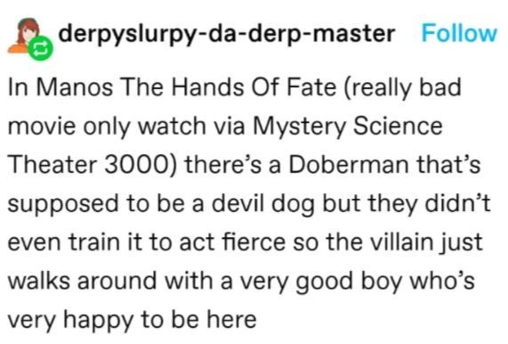 Rectangle - derpyslurpy-da-derp-master Follow In Manos The Hands Of Fate (really bad movie only watch via Mystery Science Theater 30000) there's a Doberman that's supposed to be a devil dog but they didn't even train it to act fierce so the villain just walks around with a very good boy who's very happy to be here