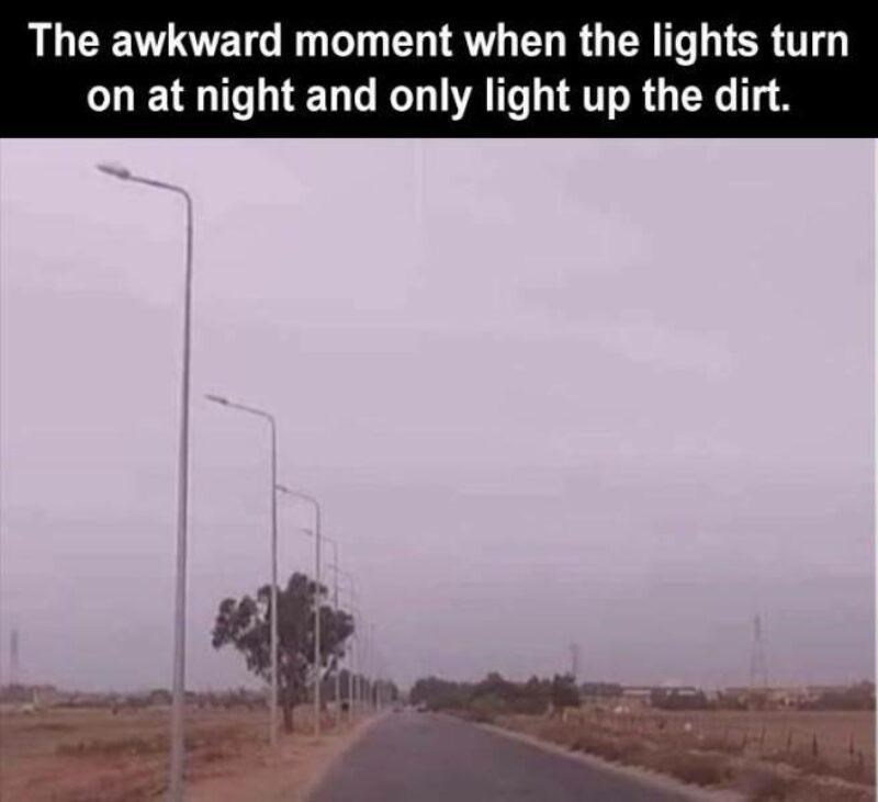 Sky - The awkward moment when the lights turn on at night and only light up the dirt.