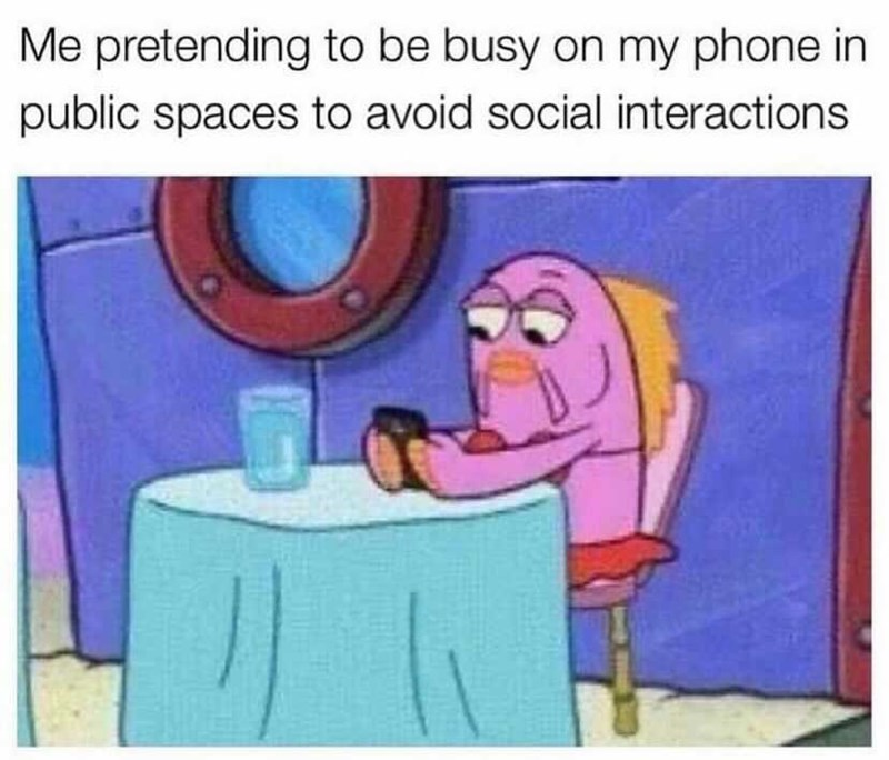 Facial expression - Me pretending to be busy on my phone in public spaces to avoid social interactions