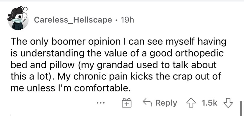 Font - Careless_Hellscape · 19h The only boomer opinion I can see myself having is understanding the value of a good orthopedic bed and pillow (my grandad used to talk about this a lot). My chronic pain kicks the crap out of me unless l'm comfortable. G Reply 1 1.5k ...
