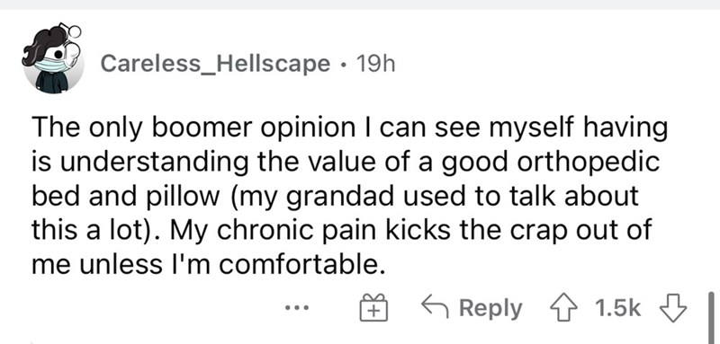 Font - Careless_Hellscape · 19h The only boomer opinion I can see myself having is understanding the value of a good orthopedic bed and pillow (my grandad used to talk about this a lot). My chronic pain kicks the crap out of me unless l'm comfortable. G Reply 1 1.5k 3 ...