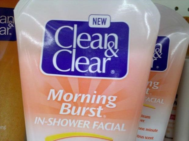 Liquid - NEW Cean Clear ar ng t. FACIAL Morning Burst team rer IN-SHOWER FACIAL one minute trus scent ing