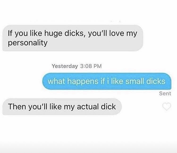 Font - If you like huge dicks, you'll love my personality Yesterday 3:08 PM what happens if i like small dicks Sent Then you'll like my actual dick