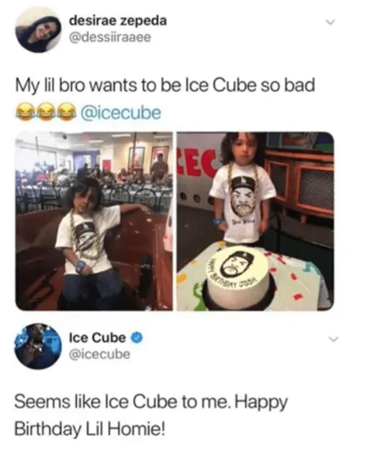 Product - desirae zepeda @dessiiraaee My lil bro wants to be lce Cube so bad 232 @icecube EC JOSH Ice Cube O @icecube Seems like Ice Cube to me. Happy Birthday Lil Homie!
