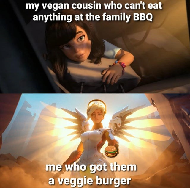 Human - my vegan cousin who can't eat anything at the family BBQ me who got them a veggie burger