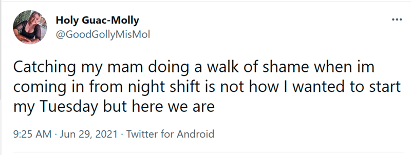 Font - Font - Holy Guac-Molly @GoodGollyMisMol Catching my mam doing a walk of shame when im coming in from night shift is not how I wanted to start my Tuesday but here we are 9:25 AM · Jun 29, 2021 · Twitter for Android