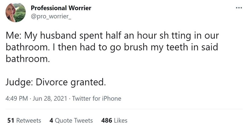 Font - Professional Worrier ... @pro_worrier_ Me: My husband spent half an hour sh tting in our bathroom. I then had to go brush my teeth in said bathroom. Judge: Divorce granted. 4:49 PM · Jun 28, 2021 · Twitter for iPhone 51 Retweets 4 Quote Tweets 486 Likes
