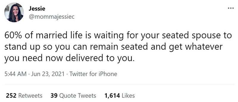Font - Jessie ... @mommajessiec 60% of married life is waiting for your seated spouse to stand up so you can remain seated and get whatever you need now delivered to you. 5:44 AM · Jun 23, 2021 · Twitter for iPhone 252 Retweets 39 Quote Tweets 1,614 Likes