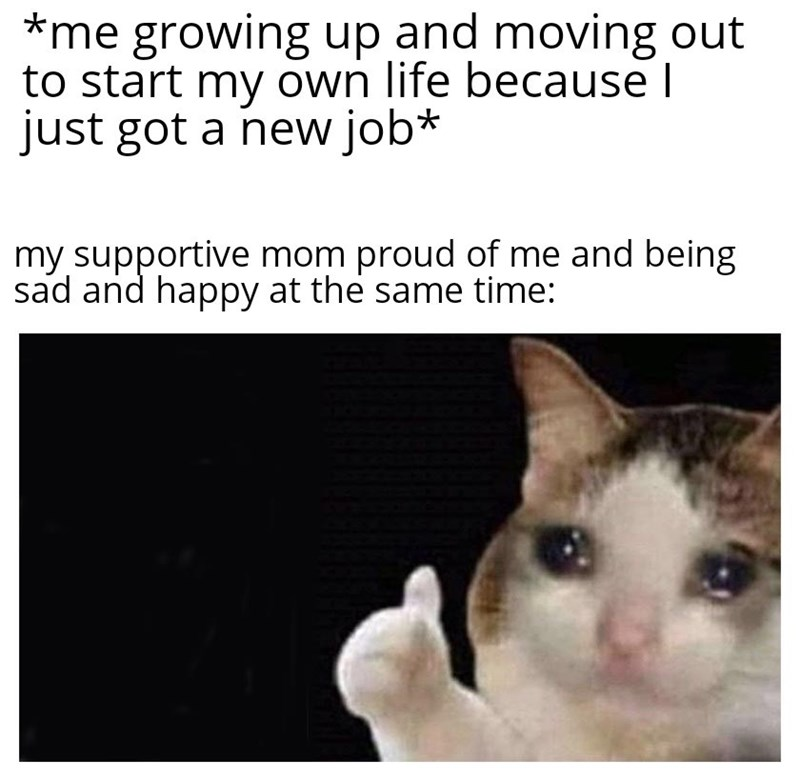 Cat - *me growing up and moving out to start my own life because I just got a new job* my supportive mom proud of me and being sad and happy at the same time:
