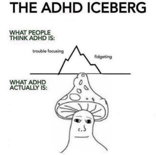 Hair - THE ADHD ICEBERG WHAT PEOPLE THINK ADHD IS: trouble focusing fidgeting WHAT ADHD ACTUALLY IS: