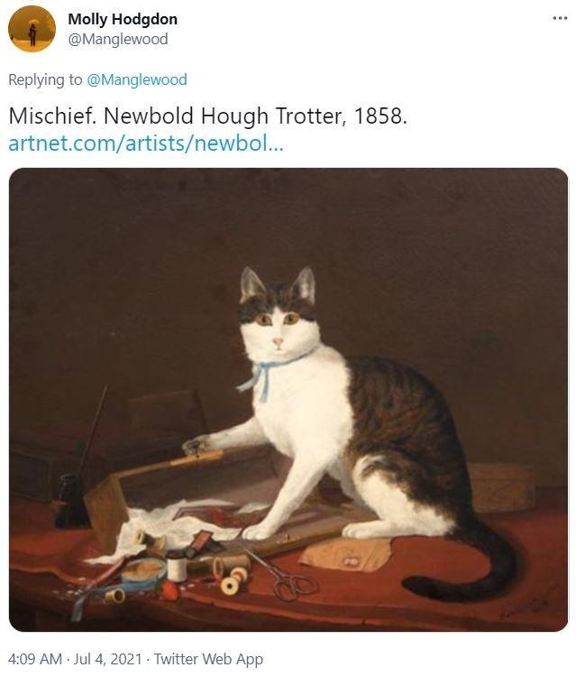Cat - Molly Hodgdon @Manglewood ... Replying to @Manglewood Mischief. Newbold Hough Trotter, 1858. artnet.com/artists/newbol... 4:09 AM Jul 4, 2021 · Twitter Web App