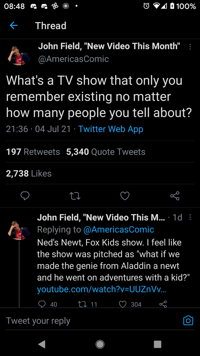 """Font - 08:48 G O V10 100% Thread John Field, """"New Video This Month"""" : @AmericasComic What's a TV show that only you remember existing no matter how many people you tell about? 21:36 · 04 Jul 21 · Twitter Web App 197 Retweets 5,340 Quote Tweets 2,738 Likes John Field, """"New Video This M... · 1d : Replying to @AmericasComic Ned's Newt, Fox Kids show. I feel like the show was pitched as """"what if we made the genie from Aladdin a newt and he went on adventures with a kid?"""" youtube.com/watch?v=UUZnVv.."""