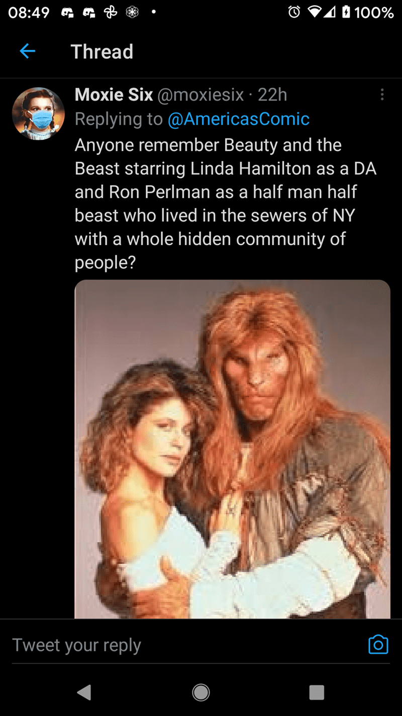 Product - 08:49 G O V10 100% Thread Moxie Six @moxiesix · 22h Replying to @AmericasComic Anyone remember Beauty and the Beast starring Linda Hamilton as a DA and Ron Perlman as a half man half beast who lived in the sewers of NY with a whole hidden community of рeople? Tweet your reply