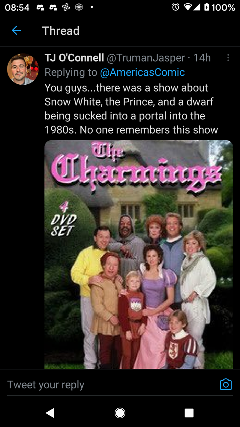 Smile - 08:54 G O 11 100% Thread TJ O'Connell @TrumanJasper · 14h Replying to @AmericasComic You guys...there was a show about Snow White, the Prince, and a dwarf being sucked into a portal into the 1980s. No one remembers this show Charaings DVD SET Tweet your reply