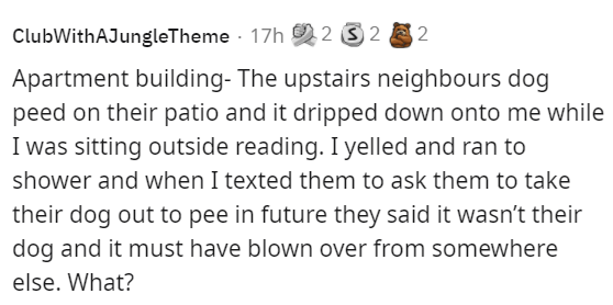 Font - ClubWithAJungleTheme 17h 2 3 2 2 Apartment building- The upstairs neighbours dog peed on their patio and it dripped down onto me while I was sitting outside reading. I yelled and ran to shower and when I texted them to ask them to take their dog out to pee in future they said it wasn't their dog and it must have blown over from somewhere else. What?