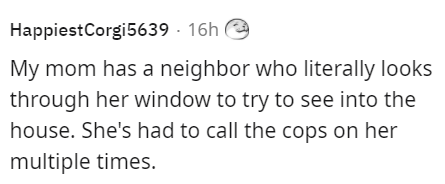 Plant - HappiestCorgi5639 - 16h e My mom has a neighbor who literally looks through her window to try to see into the house. She's had to call the cops on her multiple times.