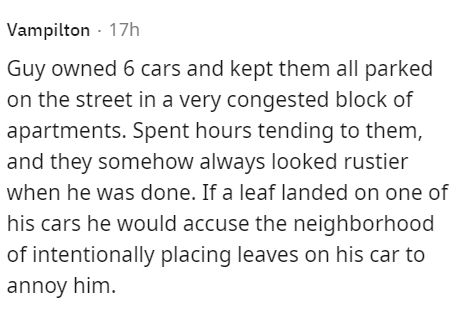Font - Vampilton · 17h Guy owned 6 cars and kept them all parked on the street in a very congested block of apartments. Spent hours tending to them, and they somehow always looked rustier when he was done. If a leaf landed on one of his cars he would accuse the neighborhood of intentionally placing leaves on his car to annoy him.