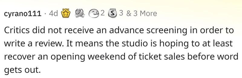 Rectangle - cyrano111 · 4d e 2 3 & 3 More Critics did not receive an advance screening in order to write a review. It means the studio is hoping to at least recover an opening weekend of ticket sales before word gets out.