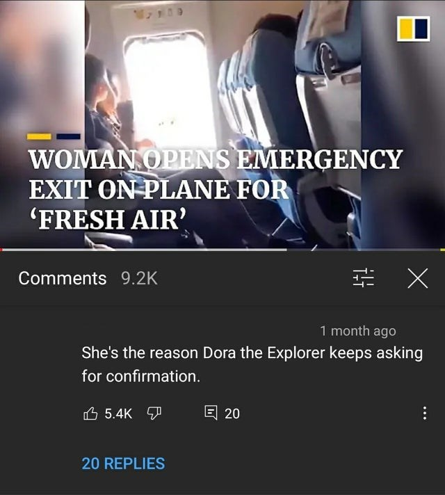 Gesture - WOMAN OPENS EMERGENCY EXIT ON PLANE FOR (FRESH AIR Comments 9.2K 1 month ago She's the reason Dora the Explorer keeps asking for confirmation. 凸 5.4K ア 回 20 20 REPLIES
